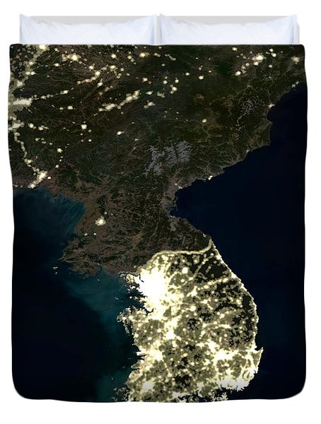 Korean Peninsula Duvet Cover by Planet Observer and SPL and Photo Researchers