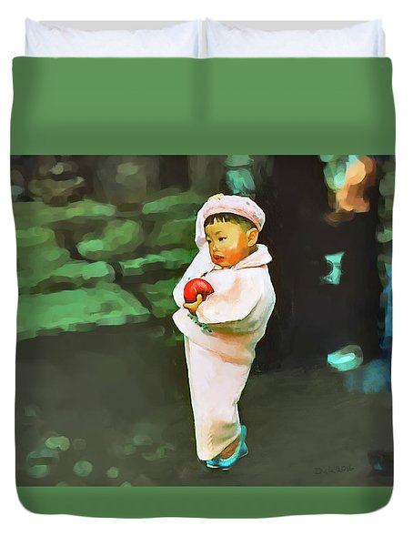 Duvet Cover featuring the photograph Korean Pink by Dale Stillman