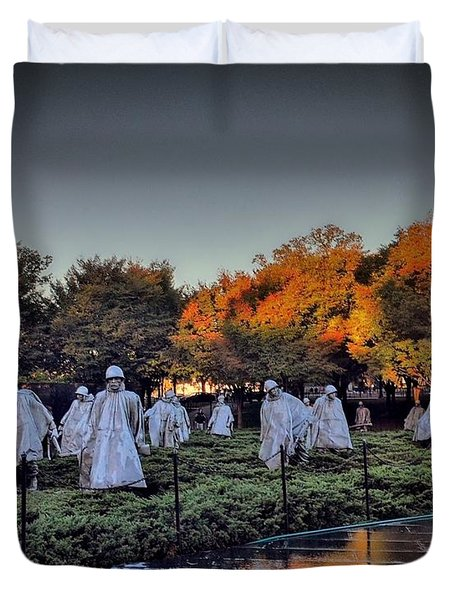 Korean War Memorial In Washington Dc Duvet Cover