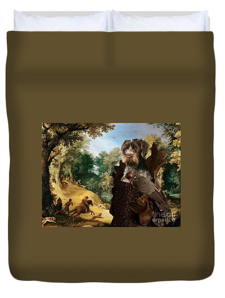 Korthals Pointing Griffon Art Canvas Print - The Hunters And Lady Falconer Duvet Cover