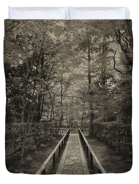 Koto-in Zen Temple Forest Path - Kyoto Japan Duvet Cover by Daniel Hagerman