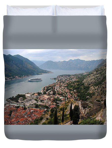 Duvet Cover featuring the photograph Kotor Bay by Robert Moss