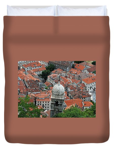 Duvet Cover featuring the photograph Kotor Rooftops by Robert Moss
