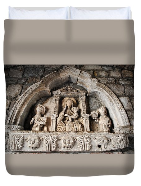 Duvet Cover featuring the photograph Kotor Wall Engraving by Robert Moss