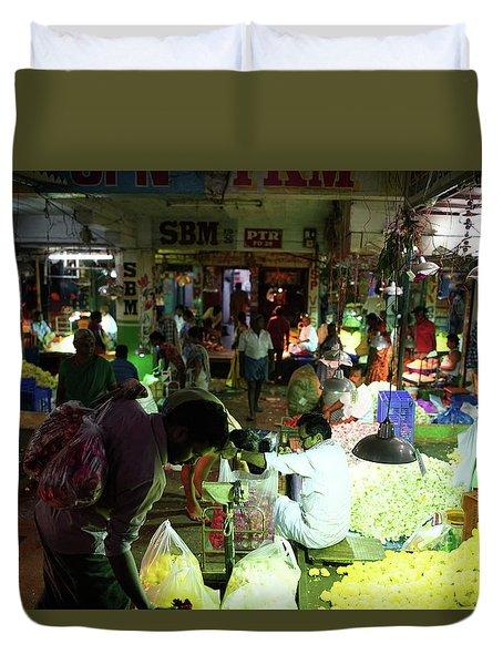 Duvet Cover featuring the photograph Koyambedu Flower Market Stalls by Mike Reid