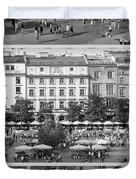 Krakow Poland Main Square Triptych Duvet Cover