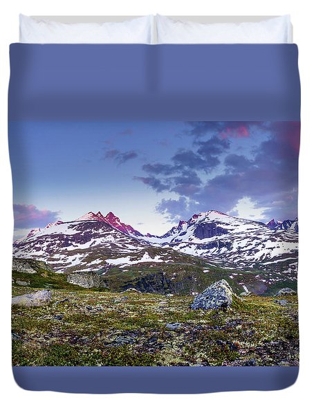 Duvet Cover featuring the photograph Crimson Peaks by Dmytro Korol