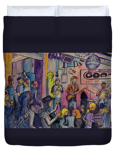 Duvet Cover featuring the painting Kris Lager Band At The Goat by David Sockrider