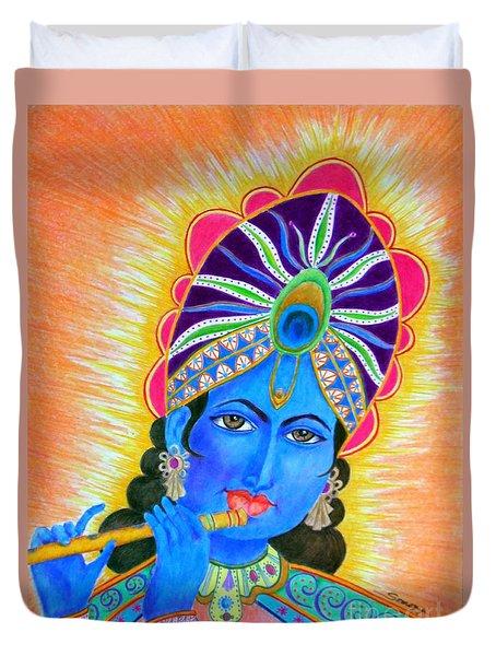 Krishna -- Colorful Portrait Of Hindu God Duvet Cover