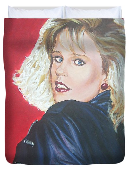 Duvet Cover featuring the painting Kristi Sommers by Bryan Bustard