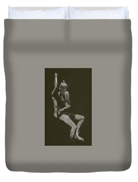 Kroki 2014 10 04_12 Figure Drawing White Chalk Duvet Cover