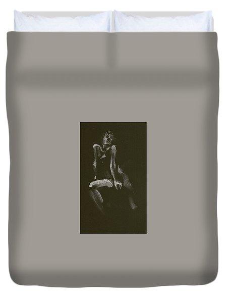Kroki 2014 10 18_3 Figure Drawing White Chalk Duvet Cover