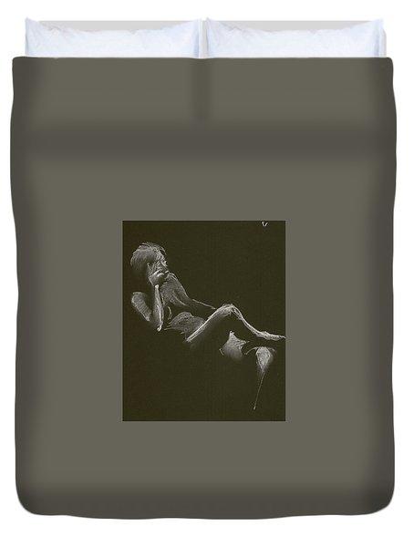 Kroki 2014 12 27_3 Figure Drawing White Chalk Duvet Cover