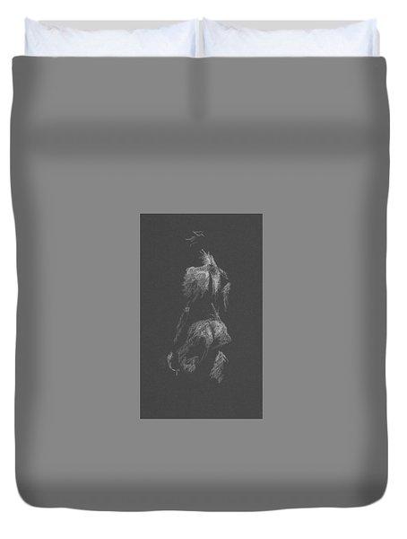 Kroki 2015 09 26 _3 Figure Drawing White Chalk Duvet Cover