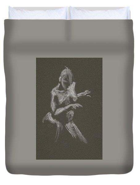 Kroki 2015 10 03_12 Figure Drawing White Chalk Duvet Cover