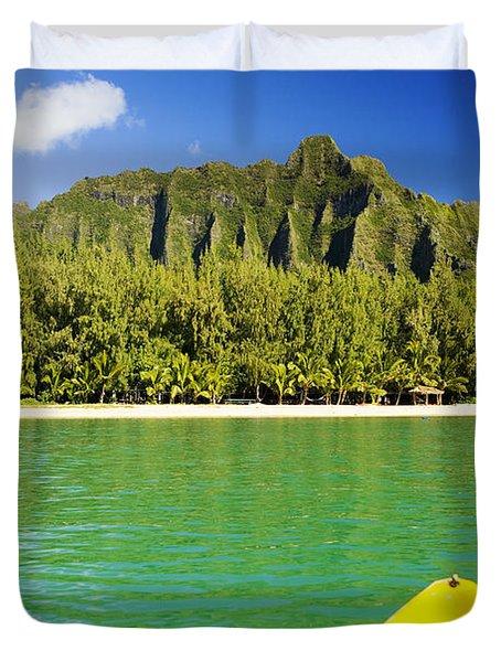 Kualoa Mountains From Kay Duvet Cover by Dana Edmunds - Printscapes