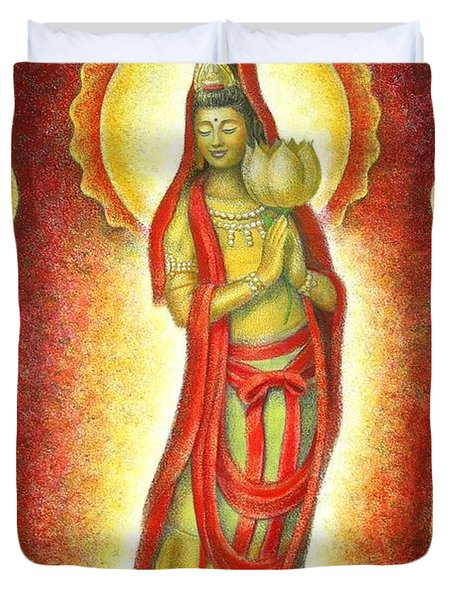 Kuan Yin Lotus Duvet Cover