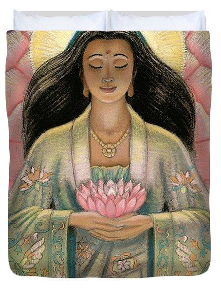 Kuan Yin Pink Lotus Heart Duvet Cover