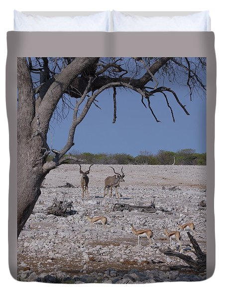 Duvet Cover featuring the photograph Kudu And Springbok 2 by Ernie Echols