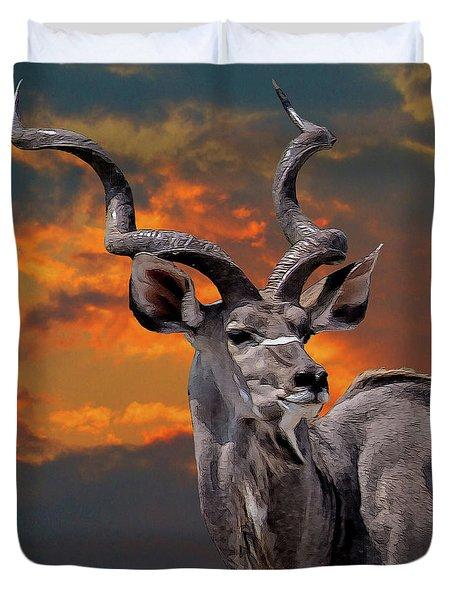 Kudu At Sunset Duvet Cover