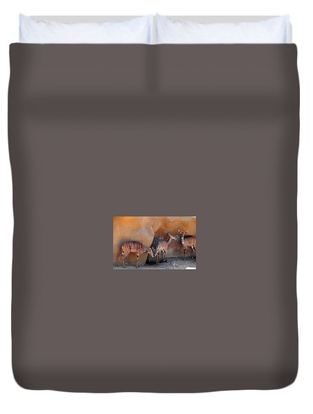 Kudu Family Gathering Duvet Cover