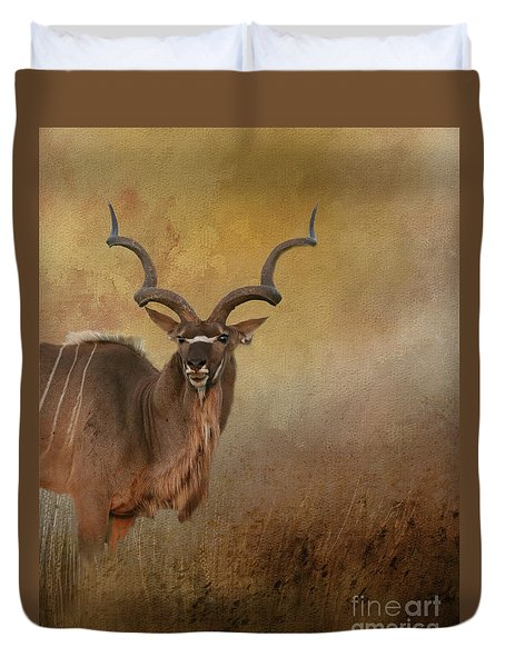 Kudu On Alert Duvet Cover by Myrna Bradshaw