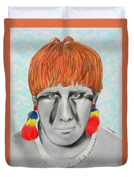 Kuikuro From Brazil -- Portrait Of South American Tribal Man Duvet Cover