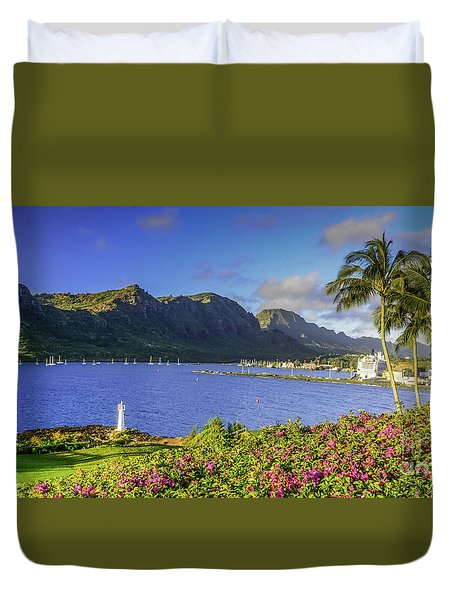 Kuku'i Point Lighthouse, Nawiliwili Bay, Kauai Hawaii Duvet Cover
