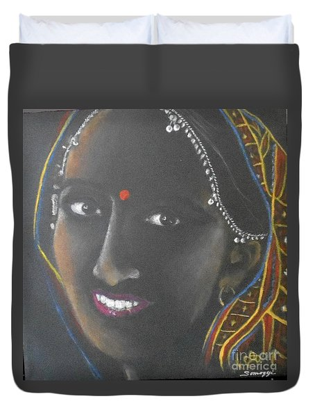 Kumkuma -- Close-up Portrait Of Indian Woman Duvet Cover