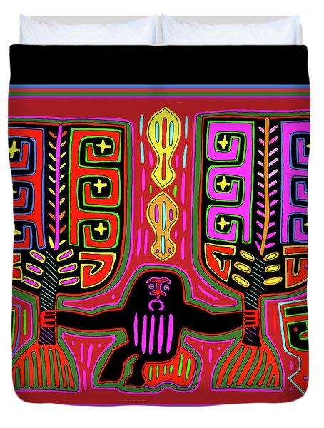 Duvet Cover featuring the digital art Kuna Indian Mola Man With Fans by Vagabond Folk Art - Virginia Vivier