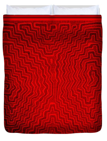Duvet Cover featuring the digital art Kuna Indian Sun Heat Rays by Vagabond Folk Art - Virginia Vivier