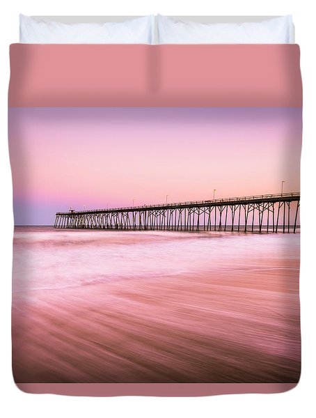 Duvet Cover featuring the photograph Kure Beach Fishing Pier At Sunset by Ranjay Mitra