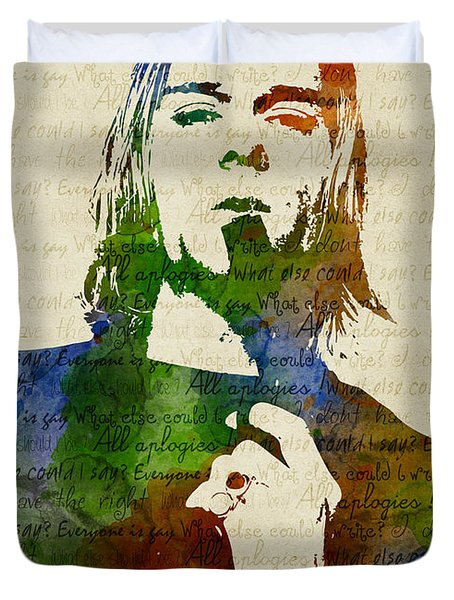Kurt Cobain Watercolor Duvet Cover