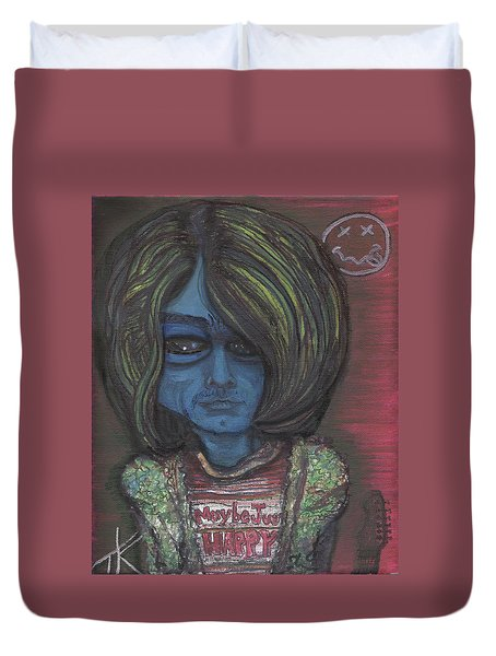 Duvet Cover featuring the painting Kurt Cobalien by Similar Alien