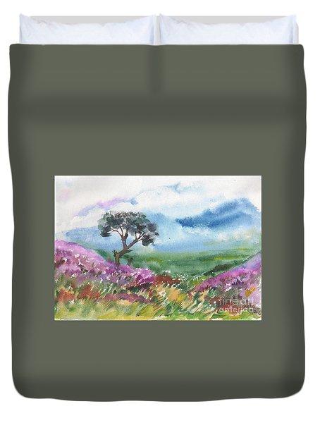 Duvet Cover featuring the painting Kurunji Flower Beds by Asha Sudhaker Shenoy