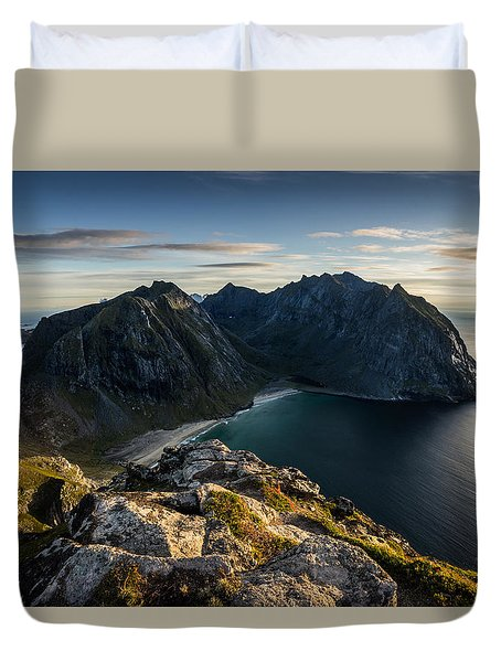 Duvet Cover featuring the photograph Kvalvika Beach by James Billings