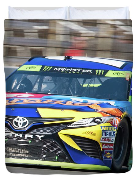 Kyle Busch Coming Out Of Turn 1 Duvet Cover