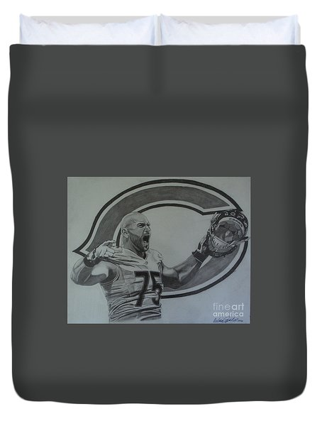 Kyle Long Of The Chicago Bears Duvet Cover by Melissa Goodrich