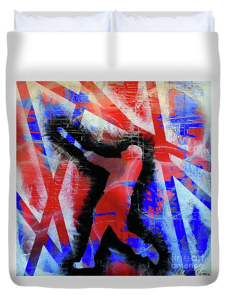 Duvet Cover featuring the painting Kyle Schwarber - #letsgo by Melissa Goodrich