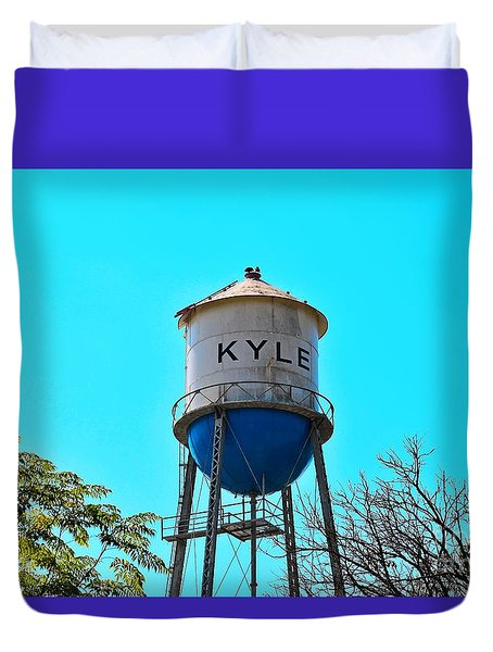 Kyle Texas Water Tower Duvet Cover by Ray Shrewsberry