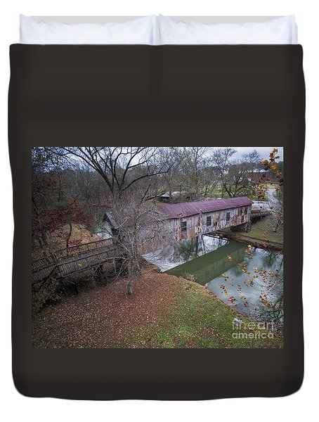 Kymulga Covered Bridge Aerial 1 Duvet Cover