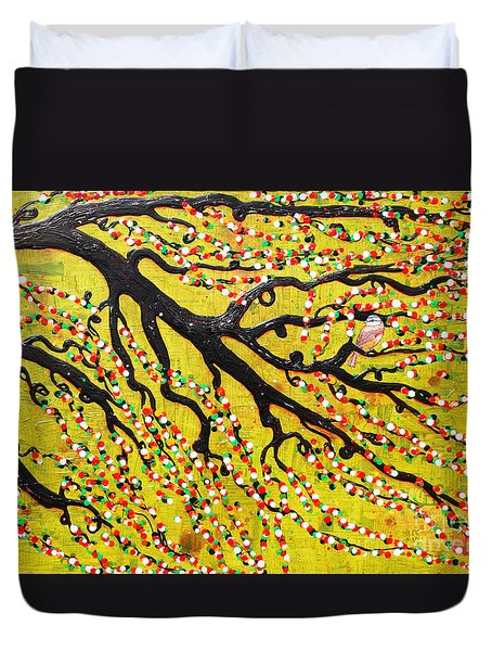 Duvet Cover featuring the mixed media Kyoto Blossoms by Natalie Briney
