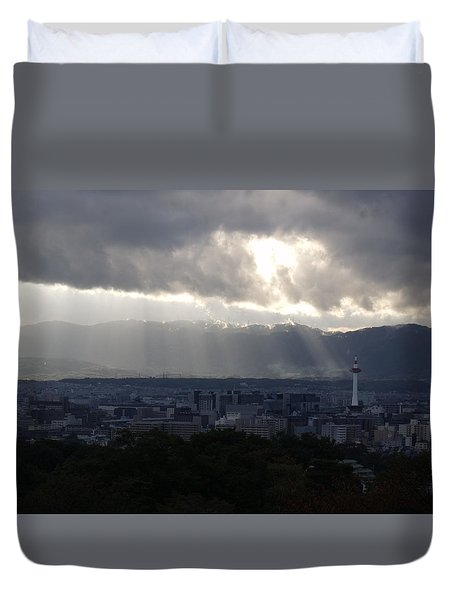 Kyoto Skyline Duvet Cover by Pete Hall