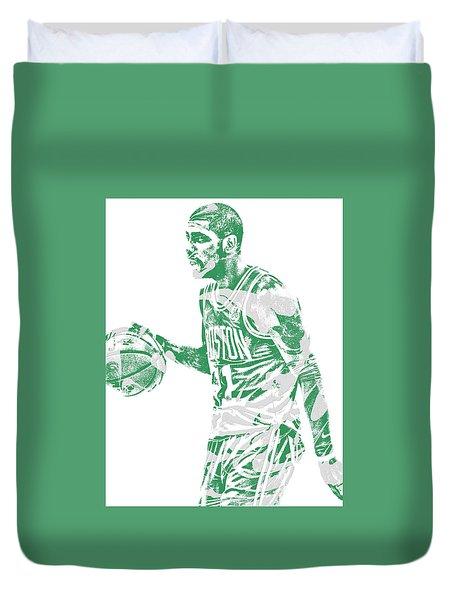 Kyrie Irving Boston Celtics Pixel Art 40 Duvet Cover