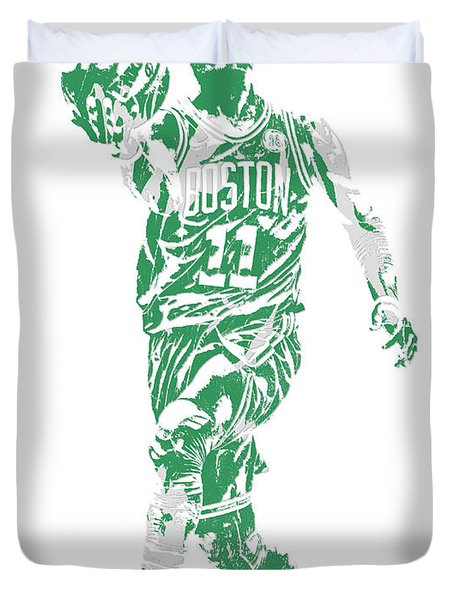 Kyrie Irving Boston Celtics Pixel Art 43 Duvet Cover