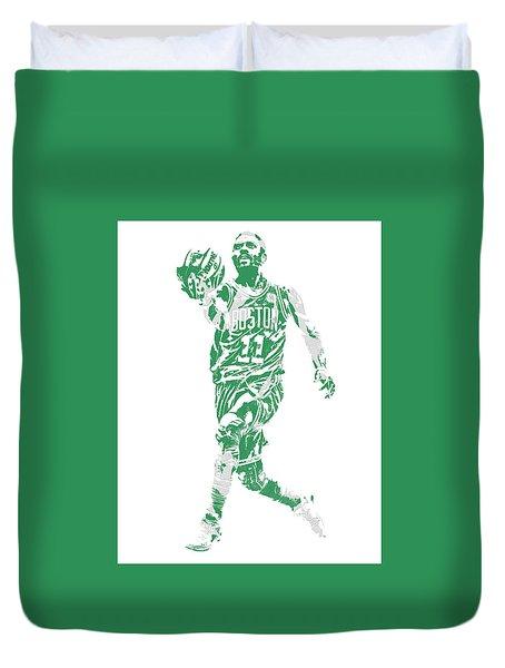Kyrie Irving Boston Celtics Pixel Art 43 Duvet Cover