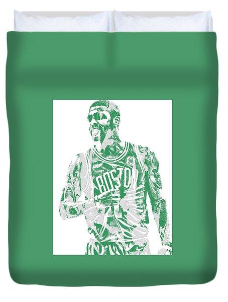 Kyrie Irving Boston Celtics Pixel Art 7 Duvet Cover