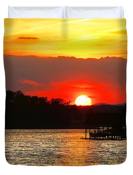 Bloody Red Sunset Smith Mountain Lake Duvet Cover