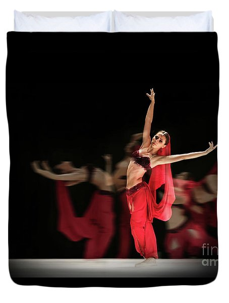 Duvet Cover featuring the photograph La Bayadere Ballerina In Red Tutu Ballet by Dimitar Hristov
