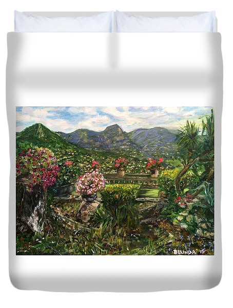Duvet Cover featuring the painting La Belle Vence by Belinda Low